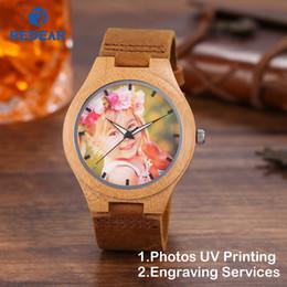 Discount oem watch men - Creative Gift Wood Watch Men Women Photos UV Printing on Wooden Watch OEM Customized Gift