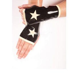 $enCountryForm.capitalKeyWord Australia - 2018 new Hot Female handmade Latex classic Sexy stars half fingers Wrist Gloves with star pattern Cekc Fetish XS-XXL
