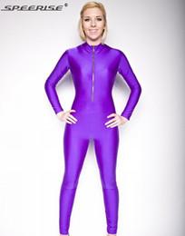Body Suits Adults Australia - Adult Front Zipper Lycra Unitard Spandex Bodysuit Womens Long Sleeve Unitard Zentai Body Suit Anker Length Catsuit Dance Leotard