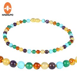 $enCountryForm.capitalKeyWord Canada - HAOHUPO 16 Styles Amber Teething Necklace for Baby Mom Baltic Amber Bracelet for Baby Women Natural with Gemstone Supplier