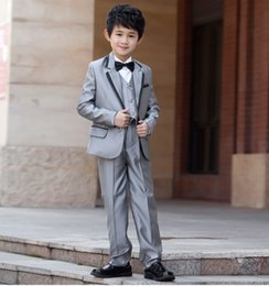 Grey Colour Suits Australia - Hot Selling Wedding Flower Boys Suits Two Pieces (Jacket+Pant) Colour Silver Grey Solid Pattern Single Breasted 100% Polyseter Tuxedos