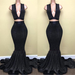 China Black Two Pieces Sequined Prom Dresses 2018 Deep V-Neck Sleeveless Evening Gowns BA8041 Cascading Ruffles Skirts cheap white two piece mermaid skirt suppliers