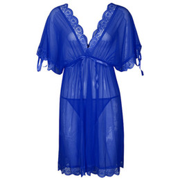 05cb1fabe9 Fashion Satin Womens Nightdress Sexy Lace Long Nightgowns Batwing Sleeve V-Neck  Woman Sleepwear Nightgown Chemise Lingerie
