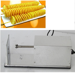 tornado fries cutter Canada - 110v 220v Electric Twister Patato Cutter Commercial Tornado Patato Slicer Spiral French Fries Chips Maker Machine