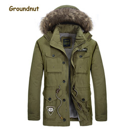 raccoon hooded parka UK - Groundnut Natural Raccoon Fur Collar Men's Winter Parkas Men Thick Fleece Lining Warm Cotton Coat Outerwear With Detachable Hood