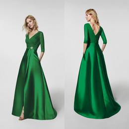 ff5de0c2a296c Abiti per occasioni speciali di alta qualità scollo a V A Line Gathered  Corpetto Split Skirt Verde smeraldo Abiti da sera eleganti con maniche 2018