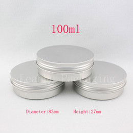 wholesale metal bottle caps NZ - 100g empty aluminum ( Metal ) ointment box 100ml aluminum cream jar cosmetic bottle with screw cap metal silver container pot