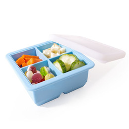 tub baby 2018 - Multi -Purpose 4 Cube 2 Inch Jumbo Durable .Silicone Ice Cube Tray Mold With Lid For Baby Pruee ,Frozen Herb ,Ice Cube A