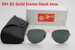 Sun Glasses Black Australia - 1pcs High Quality Classic Pilot Sunglasses Designer Brand Mens Womens Sun Glasses Eyewear Gold Metal Black 58mm Glass Lens Black Case