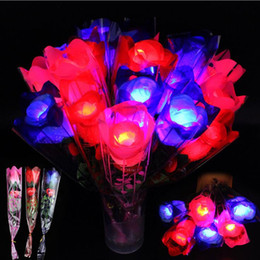 Flower supply online shopping - LED Light Up Rose Flower Glowing Valentines Day Wedding Decoration Fake Flowers Party Supplies Decorations OOA5855
