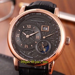 Chinese  4 Style New Lange1 139.025 139.032 Moonphase White Black Dial Automatic Mens Watch Rose Gold Case Leather Strap Gents Wristwatches manufacturers