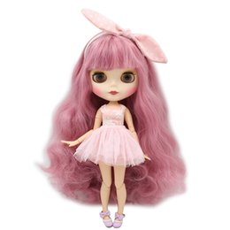 Bored Hair UK - Dolls Accessories Dolls ICY Blyth Nude Doll For Series No. 280BL1063 Pink hair with bangs Matte face Joint body Suitable For DIY