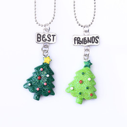 """Best Gift For Xmas Australia - 2PCS Set Kids """"Best Friends"""" Christmas Necklaces Xmas Green Tree Necklace For Children Kid Jewelry Gift"""