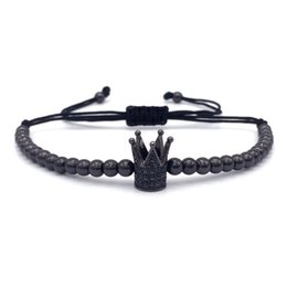 macrame beads wholesale UK - Fashion Imperial Crown Charm Men's Bracelets Micro Pave Beads Trendy Braided Macrame Bracelets