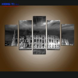 large canvas prints black white NZ - Contemporary Black and white Rome Colosseum Large Landscape Picture Canvas Wall Art Print World Attraction picture for living room Home Deco