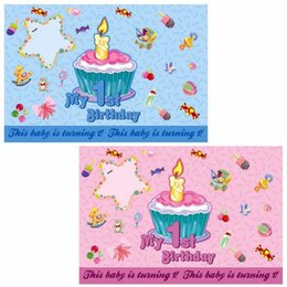 1st Birthday Poster Or Wall Paper For Party Suppliers Baby Boy Girls Sweet Home Decoration