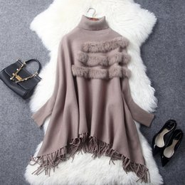 Loose crochet shawL online shopping - European and American women s wear The new winter A loose cape shawl coat High necked bat sleeve knit sweater