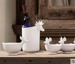 Discount sheet brass white ceramic deer ice buckets bowl home decor crafts table decoration handicraft porcelain figurines wedding decoration