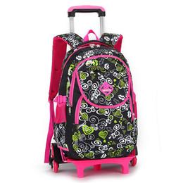 d11df2be89c4 Прекрасный печати тележки школьные сумки для девочек рюкзак дети книга сумка  на колесах начальной школы ранец дети путешествия Лаге