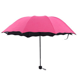 umbrella lighted handle 2019 - The Lotus Leaf Side All Weather Umbrella Blossom In Water Ultraviolet Proof Three Folded Umbrellas Originality Sunshade