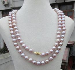 China real photos 2018 new 9-10MM NATURAL SOUTH SEA GENUINE PURPLE PEARL NECKLACE 14K Golden 35 inch Bestwishes suppliers
