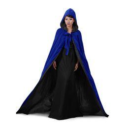 $enCountryForm.capitalKeyWord UK - Wedding Jacket Wraps Warm Velvet Blue Sleeveless Hood Capes Halloween Costumes for Women Men Cosplay Bridal Cloak S-6XL