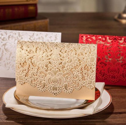 Lace invitation card designs online shopping - pieces Paper Crafts Picrced Flower Design Personalized Customized Printing Romantic Lace Wedding Invitations Cards SN206