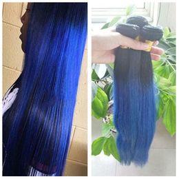 Blue omBre virgin hair online shopping - B Blue Ombre Straight Brazilian Virgin Hair Weave Straight Ombre Blue Hair Extensions Two Tone Colors Bundles