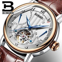 binger watch strap NZ - Genuine Luxury BINGER Brand men automatic mechanical self-wind sapphire watches calendar waterproof leather strap Hollow Y1892103