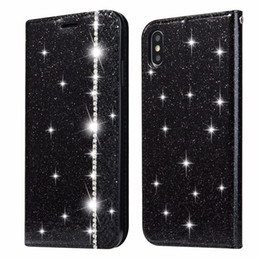 $enCountryForm.capitalKeyWord NZ - 50pcs lot Free shipping Glitter Splicing Drill card holder case for iphone 5 6 7 8 X XS XR XS Max 6 7 8 plus pouch leather cover