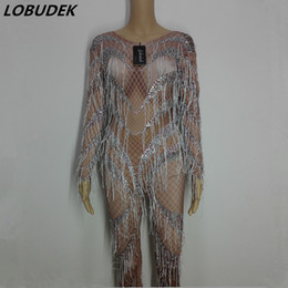 dance costume unitards UK - Tassels Crystals sexy Jumpsuit Outfit Female costumes Pole dancing performance DJ DS show Leotard Singer Dancer Nightclub DJ Show Stage Wear