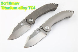 Discount knives ship free - 2018 New Dinosaur titanium knife small pocket folding knife 9cr18mov blade TC4 titanium alloy handle EDC too gift free s