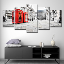 box painting oil NZ - 5 Pieces Modern Art Paintings Spray Canvas Painting London Red Telephone Box Canvas Picture London Paintings Unframed