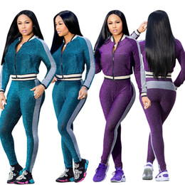 $enCountryForm.capitalKeyWord NZ - Women Long Sleeve Zipper Tracksuits Pockets Track Suit Fall Lycra Rib Edge Side Stripes Print Sports Suits Casual Two Piece Pants Set