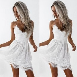 c7198810778 sexy mini slips 2019 - New Summer Women s Lace Dress Sexy V Neck Lace Up  Backless