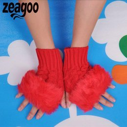 White Faux Fur Shorts Australia - winter gloves for women None Fur Finger-less Knitted Fall Gloves Winter Short Girls Faux Solid Women Casual