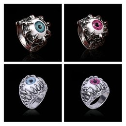 4afd6f7c6d6a Men s Punk Dragon Trendy Unisex Gothic Claw Blue Evil Eye Skull Stainless  Steel Biker Ring Steampunk Cool Ring Women Gift