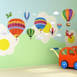 $enCountryForm.capitalKeyWord NZ - Free Shipping wall sticker   children 's room   cartoon classroom layout colorful hot air balloons environmental