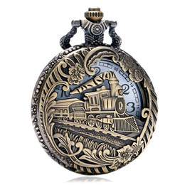 Discount pocket watches for - High Quality Vintage Bronze Pocket Watch for Men Gift with A Hollow Train Pattern
