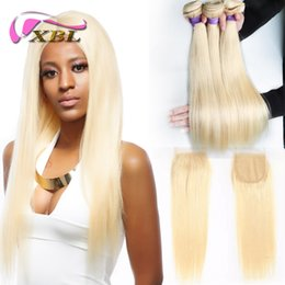 Blonde human hair pieces online shopping - xblhair blonde bundles with closure virgin bundles straight human hair extensions and one by4 top lace closure