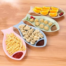 Double top plate online shopping - Creative Fish Shape Dumpling Plate Double Layer Design Wheat Straw Sushi Dishes Heat Resistant Plates Top Quality tx B