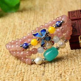 $enCountryForm.capitalKeyWord NZ - Strawberry Natural Crystal Bracelets DIY Original Design Fashion Crystal Tibetan Silver Butterfly Hand String Jewelry Wholesale