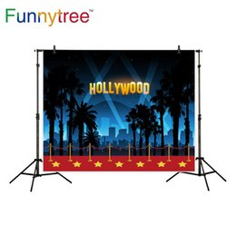 Discount photography backdrops night - Funnytree background for photography stars red carpet party decor hollywood city night backdrop photo studio photocall n