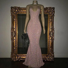 Chinese  2018 Sparkly Sequined Mermaid Prom Dresses Sexy Halter V Neck Sleeveless Floor Length Cheap Long Prom Gowns Special Party Wear BA5415 manufacturers