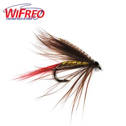 gold fishing jigs 2018 - Fishing Lures 10PCS 10# Grey Wing Gold Rib May Fly Wet Flies for Trout Fly Fishing cheap gold fishing jigs