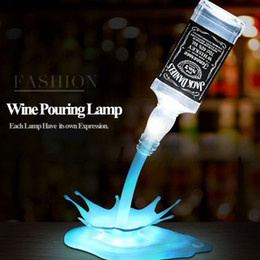Wholesale Novelty Pour the lamp LED Night Light Wine Pour Wine 3D Rechargeable USB Touch Switch Fantasy Wine Bottle Decoration Bar Party Lamp