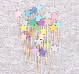 $enCountryForm.capitalKeyWord Australia - Cupcake Toppers Golden Mix Color Star Paper Cake Toppers Children Favors Decorations For Wedding Baby Shower