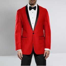 red white suit mens images Canada - Latest Design One Button Red Wedding Groom Tuxedos Shawl Lapel Groomsmen Mens Dinner Blazer Suits (Jacket+Pants+Tie) 644