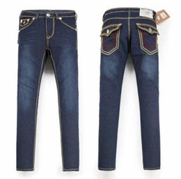 Red fly clothing online shopping - Mens Straight Jeans Long Trousers Pants Mens True Coarse Line Religion Jeans Clothes Man Casual Pencil Pants Blue Black Denim Pants