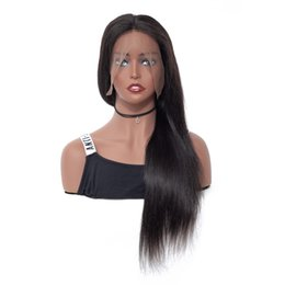 Sale Remy Full Lace Wigs UK - Nature on sale tangle free popular aaaaa 100% unprocessed virgin remy human hair natural color silky straight full lace cap wig for girl